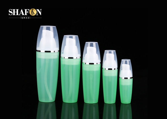 PP Airless Pump Face Cream Bottles , Green Color Lotion Bottle Packaging