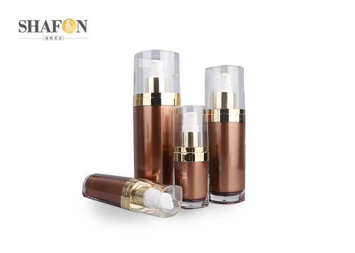 Plated Collar Airless Vacuum Pump Bottle , Brown Cosmetic Bottle Packaging