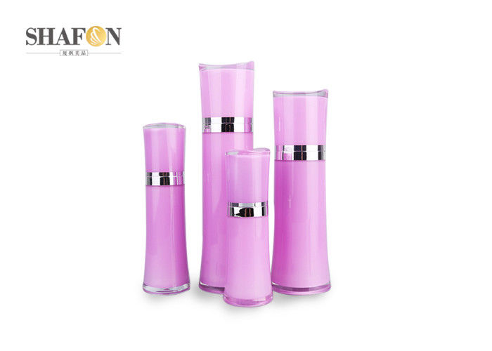 Various Size Refillable Lotion Bottle , Airless Cosmetic Bottles Plating Collar