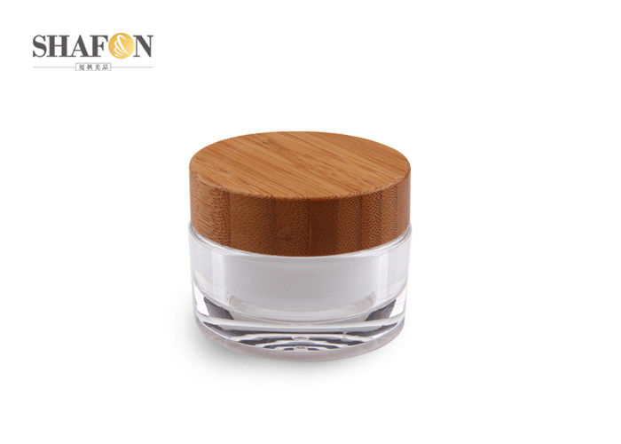 Acrylic Body Small Lotion Jars Bamboo Cover Silk Painting Cosmetic Packaging