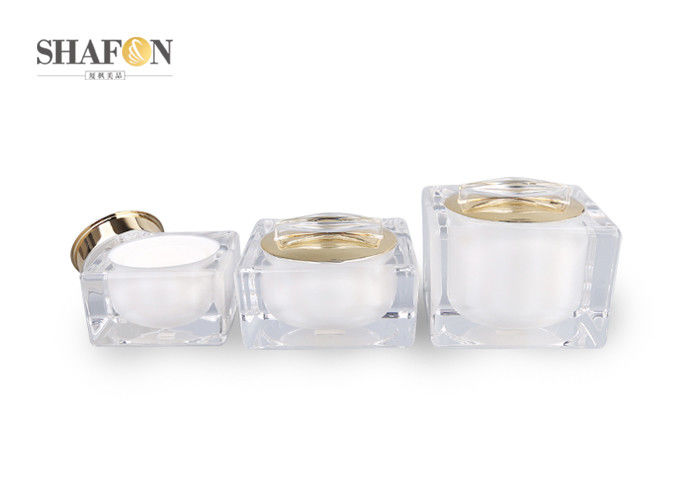 Cuboid Shape Plastic Cosmetic Jars Acrylic Material Bow Cover 80 * 80mm Diameter
