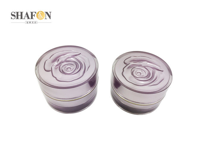 Purple Rose Cover Cream Cosmetic Jar Refillable Type 15g / 30g For Skin Care