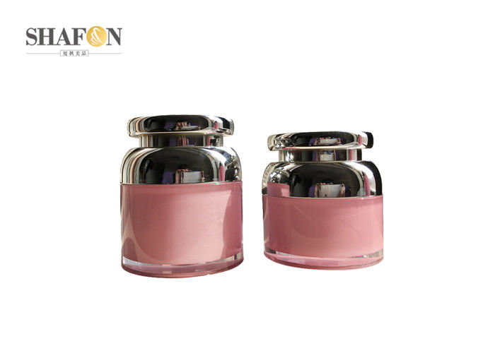Pink Color PMMA Cream Cosmetic Jar With Plated Cover Round Shape 50g